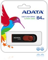 ADATA AC008 64GB Capless Sliding USB 2.0 Flash Drive - Black and Red - Cover