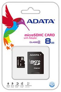 ADATA 8GB MicroSDHC Class 4 Memory Card + Adapter - Cover