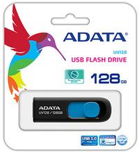 ADATA DashDrive UV128 128GB USB 3.0 Flash Drive - Black and Blue - Cover