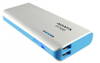 ADATA PT100 10000 mAh Power Bank - White & Blue - Cover