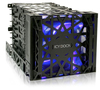 "iCYDOCK Black Vortex MB074SP-B 4 Bay 3.5 Inch Hard Drive Cooler Cage with 120mm Front LED Fan in 3x 5.25"" Bay"