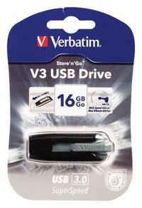 Verbatim V3 USB Drive 16GB USB 3.0 Flash Drive - Grey - Cover