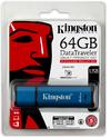 Kingston DataTraveler Vaul Privacy 3.0 64GB Flash Drive - Blue