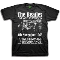 The Beatles Live and in Person Boys Black T-Shirt (X-Large) - Cover
