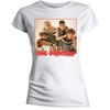 One Direction Band Red Border Skinny White T-Shirt (Large)