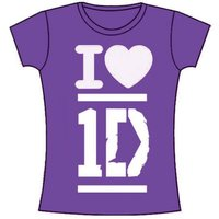 One Direction I Love Skinny Purple T-Shirt (Large) - Cover