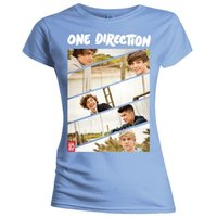 One Direction Band Sliced Kids Fitted Pale Blue T-Shirt (Small) - Cover