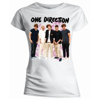One Direction Flowers Skinny White T-Shirt (Large) - Cover