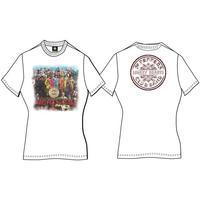 Sgt Pepper Ladies White Vintage Print T-Shirt (X-Large)