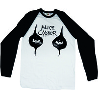 Alice Cooper Eyes Raglan Baseball Long Sleeve T-Shirt (Medium) - Cover