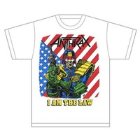 Anthrax I Am The Law Vintage Mens White T-Shirt (X-Large) - Cover