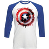 Marvel Comics Captain America Splat Shield Raglan Baseball Long Sleeve T-Shirt (Large)