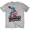 Marvel Comics Simple Captain America Mens Grey T-Shirt (Large)