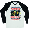 Motley Crue SATD Tour Poster Raglan Baseball Long Sleeve T-Shirt (X-Large)