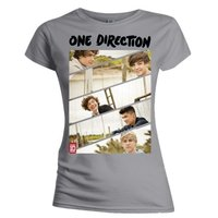 One Direction Band Sliced Skinny Grey T-Shirt (Large) - Cover
