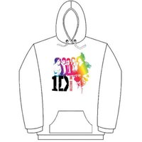One Direction Rainbow Group White Ladies Hooded Top (Large) - Cover