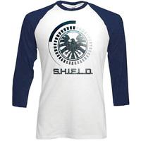 Marvel Comics S.H.I.E.L.D. Symbol Raglan Baseball Long Sleeve T-Shirt (X-Large) - Cover