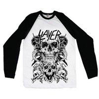 Slayer Skulls Raglan Baseball Long Sleeve T-Shirt (Medium) - Cover