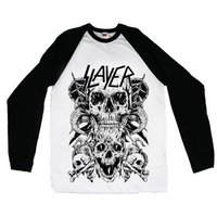 Slayer Skulls Raglan Baseball Long Sleeve T-Shirt (X-Large) - Cover