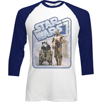 Star Wars Retro Droids Raglan Baseball Long Sleeve T-Shirt (X-Large) - Cover
