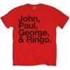 The Beatles  Mens John, Paul, George & Ringo Red T-Shirt (X-Large)