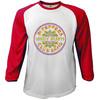 The Beatles Sgt Pepper Red & White Baseball Long Sleeve T-Shirt (Medium)