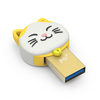 PQI Connect 303 Lucky Cat 32GB USB 3.0/Micro USB Dual Flash Drive - Gold