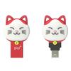 PQI Connect 303 Lucky Cat 32GB USB 3.0/Micro USB Dual Flash Drive - Red