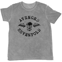 Avenged Sevenfold Classic Deathbat Flock Mens Grey T-Shirt (X-Large) - Cover