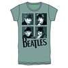 The Beatles Framed Faces Silver Foil Ladies Grey T-Shirt (Large)