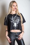 Alice Cooper Spider Splatter Glow Ink Boxy Ladies Tee (Small)