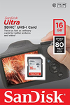 Sandisk Ultra SDHC Class 10 UHS-I - 16GB Memory Card (80MB/s)