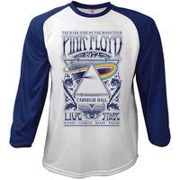 Pink Floyd Carnegie Hall Poster Baseball Raglan Long Sleeve T-Shirt (Medium) - Cover