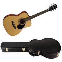 Cort AF510E OP Standard Series Folk Acoustic Electric Guitar with Hard Case (Open Pore Natural)