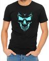 Scary Skull Face Mens T-Shirt Black (X-Large)