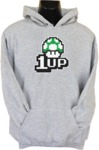 1up Mens Hoodie Grey (Medium)