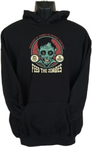 Feed the Zombies Mens Hoodie Black (Small) - Cover