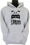 I Drive At 88mph Womens Hoodie Grey (Small)