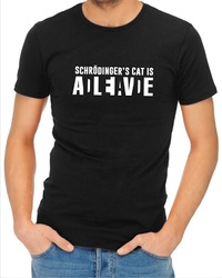 Schrodinger's Cat Mens T-Shirt Black (X-Large) - Cover