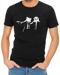 Pulp Fiction Adventure Time Mens T-Shirt Black (XXX-Large) - Cover