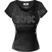 AC/DC Back In Black Acid Was Ladies T-Shirt (Medium) - Cover