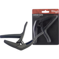 Stagg SCPX-CU BK Curved Trigger Acoustic/Electric Guitar Capo (Black)
