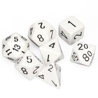 Chessex - Set of 7 Polyhedral Dice - Opaque White & Black - Cover