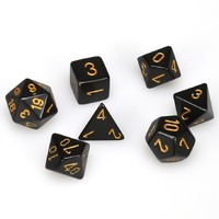 Chessex - Set of 7 Polyhedral Dice - Opaque Black & Gold - Cover