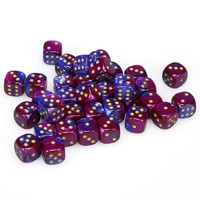 Chessex - 12mm D6 36 Dice Block - Gemini Blue-Purple with Gold - Cover