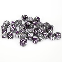 Chessex - 12mm D6 36 Dice Block - Gemini Purple-Steel with White - Cover