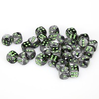 Chessex - 12mm D6 36 Dice Block - Gemini Black-Grey with Green - Cover