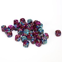 Chessex - 12mm D6 36 Dice Block - Gemini Purple-Teal with Gold - Cover