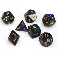 Chessex - Set of 7 Polyhedral Dice - Lustrous Shadow & Gold