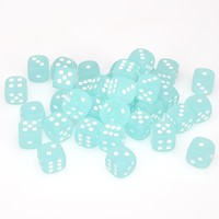 Chessex - 12mm D6 36 Dice Block - Frosted Teal with White - Cover